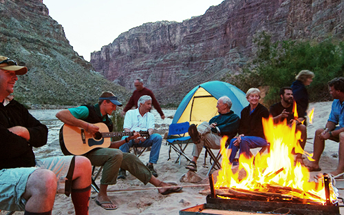 Around the campfire on the banks of the Colorado River in Cataract Canyon