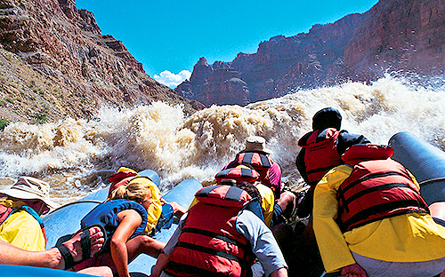 Approaching the rapids on Cataract Canyon rafting trip